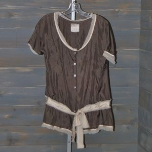 Nayked Brown Short Sleeve Tie Silk Blouse, M